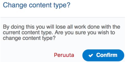 Change content type? Varoitus